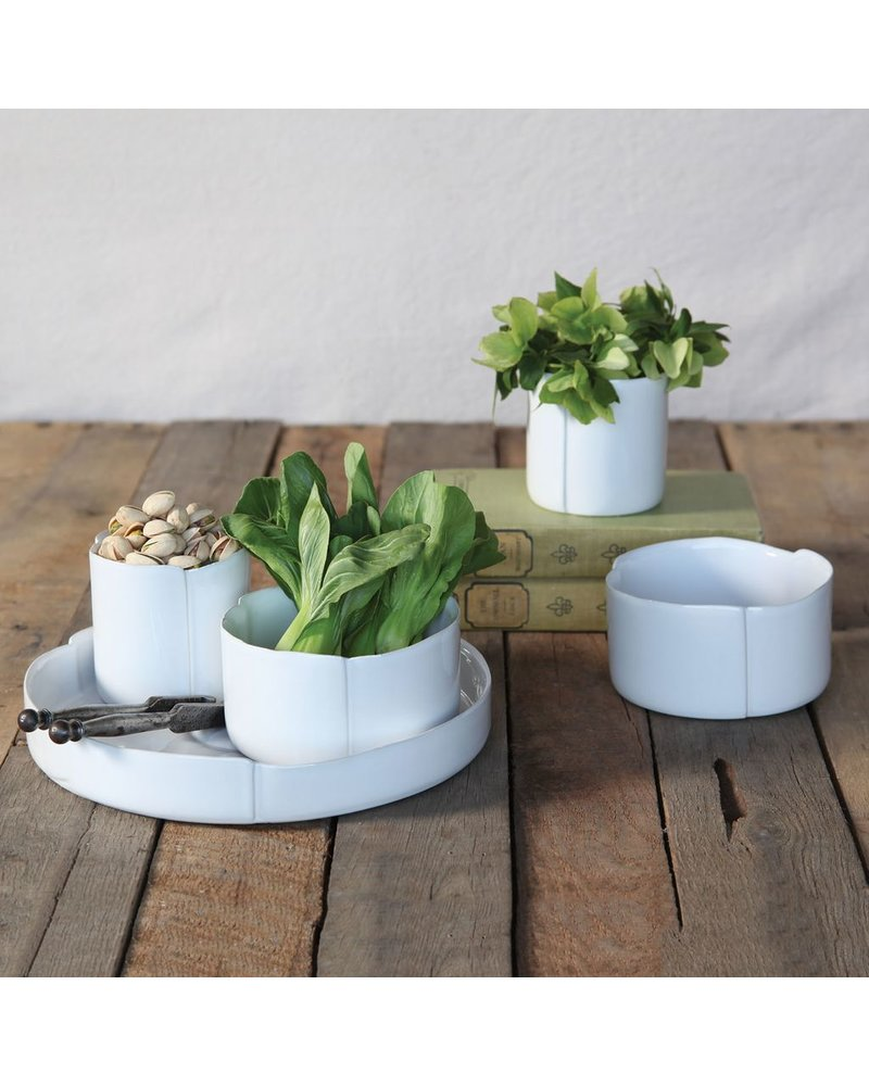 HomArt Draper Ceramic Tray - White Glaze