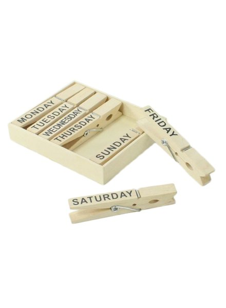 HomArt Clips - Day of the Week - Set of 7 - Natural Wood