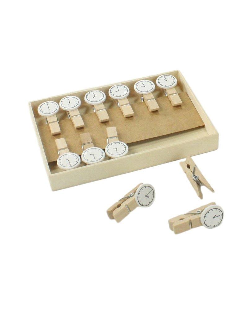 HomArt Clock Memo Clips - Box of 12 - Natural Wood