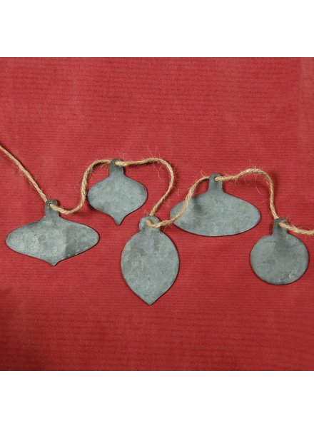 HomArt Zinc Tag Ornaments, Set of 5 - Assorted