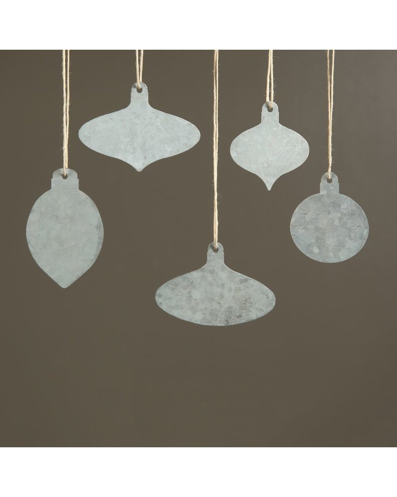 HomArt Zinc Tag Ornaments, Set of 5 - Assorted