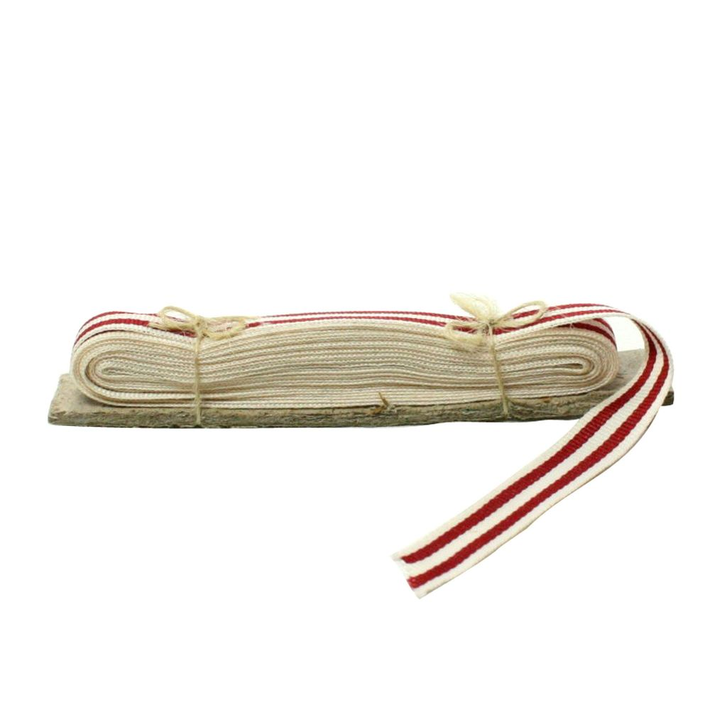 HomArt Signal Grosgrain Striped Ribbon - 5 Yd - White-Red