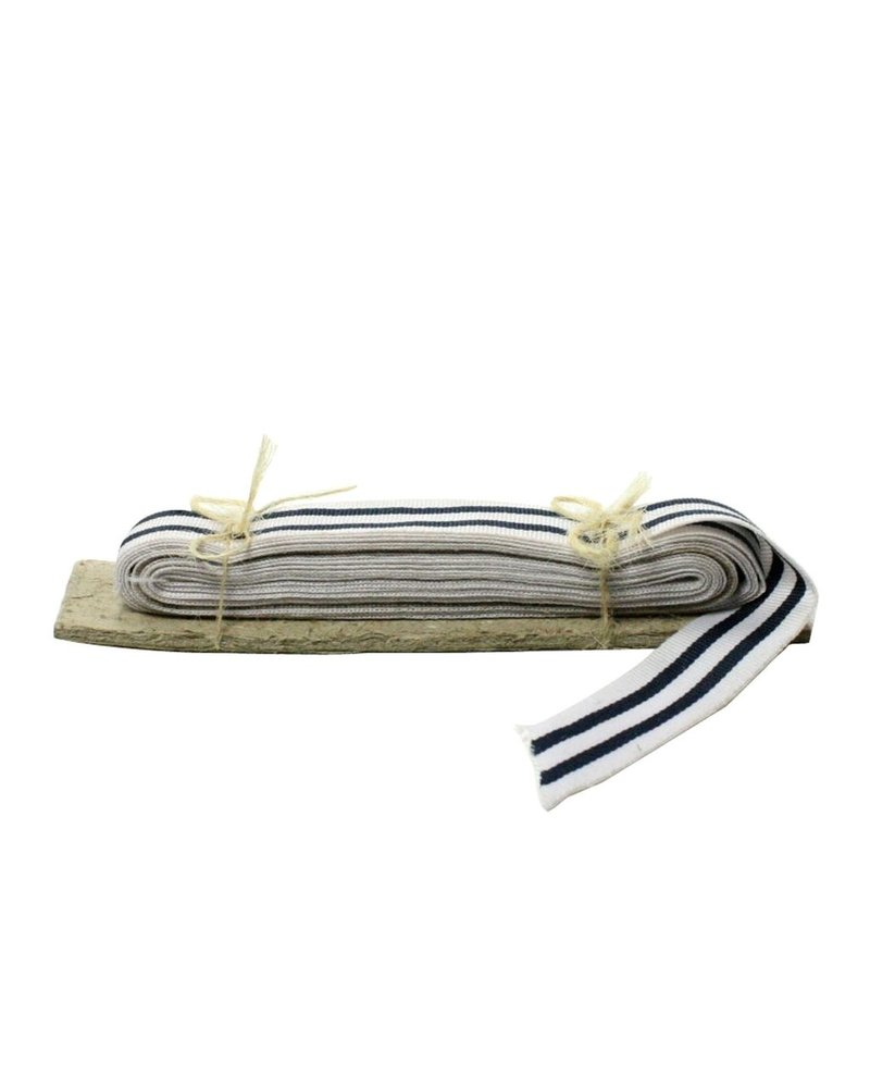 HomArt Signal Grosgrain Striped Ribbon - 5 Yd - White-Navy