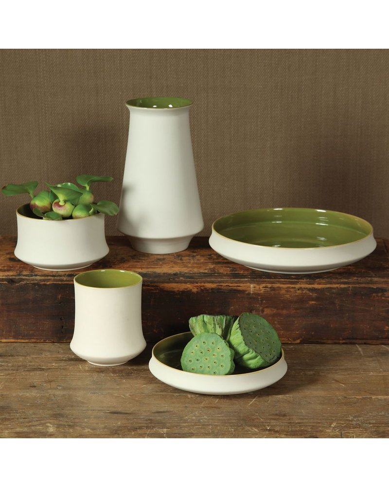 HomArt Meadow Ceramic Plate - Sm - White OUT - Green IN
