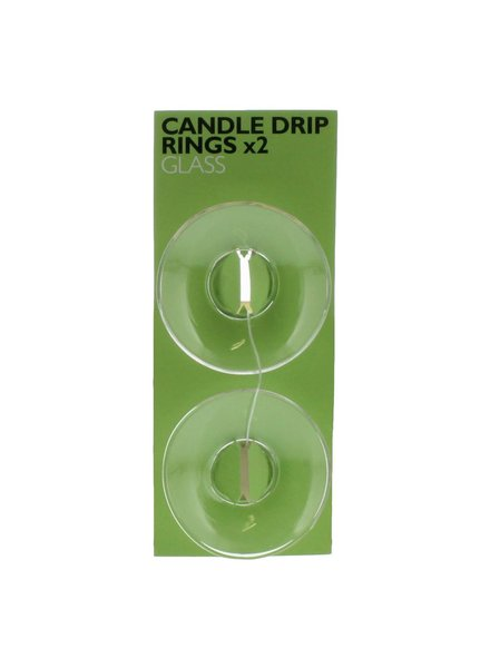 HomArt Candle Drip Rings - Glass - Set of 2 - Clear