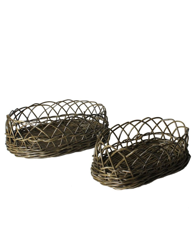 HomArt Stamford Rattan Baskets - Set of 2 - Rustique Dark Grey