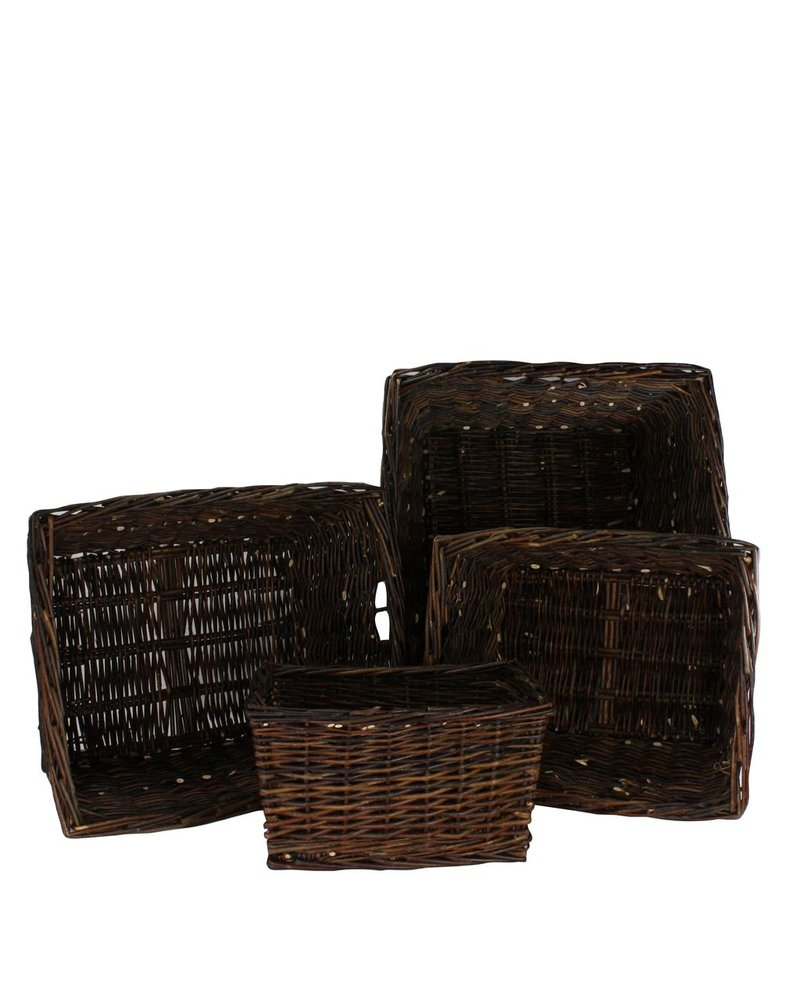 HomArt Willow Rectangle Storage Baskets - Set of 4 - Natural