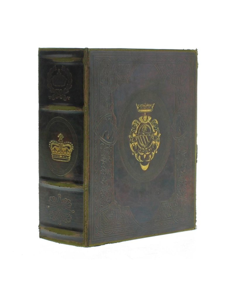HomArt Royal Embossed Book Box - Crown - 8.75 in - Brown