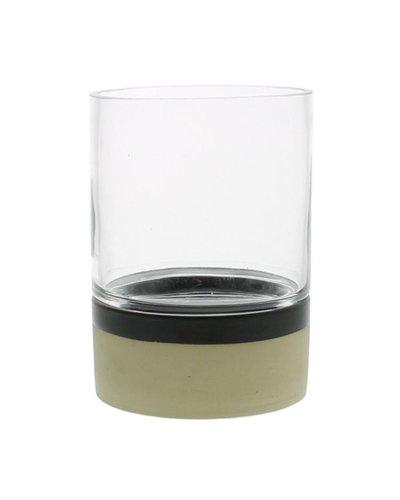 HomArt Tucker Ceramic Hurricane with Glass - Matte Brown & Natural