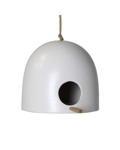 HomArt Ceramic Bird House - Sm - Matte White