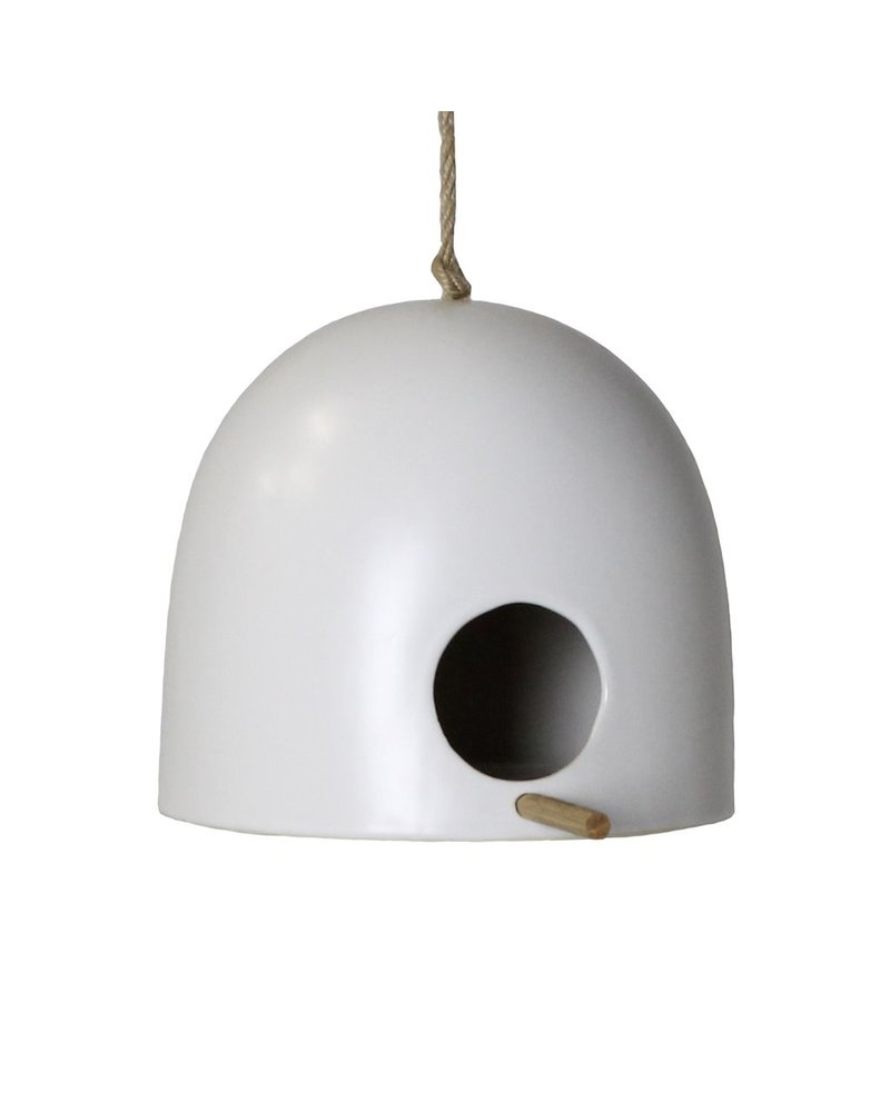 HomArt Ceramic Bird House - Sm - Matte White