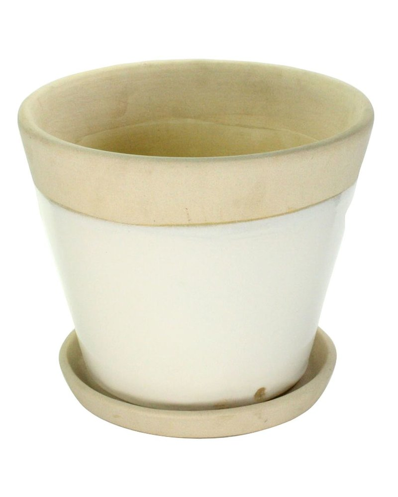 HomArt Begonia Ceramic Cachepot - Grand - White