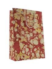 HomArt Marbleized Paper Gift Bag - Lrg - Red