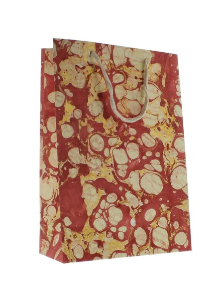 HomArt Marbleized Paper Gift Bag - Lrg - Red