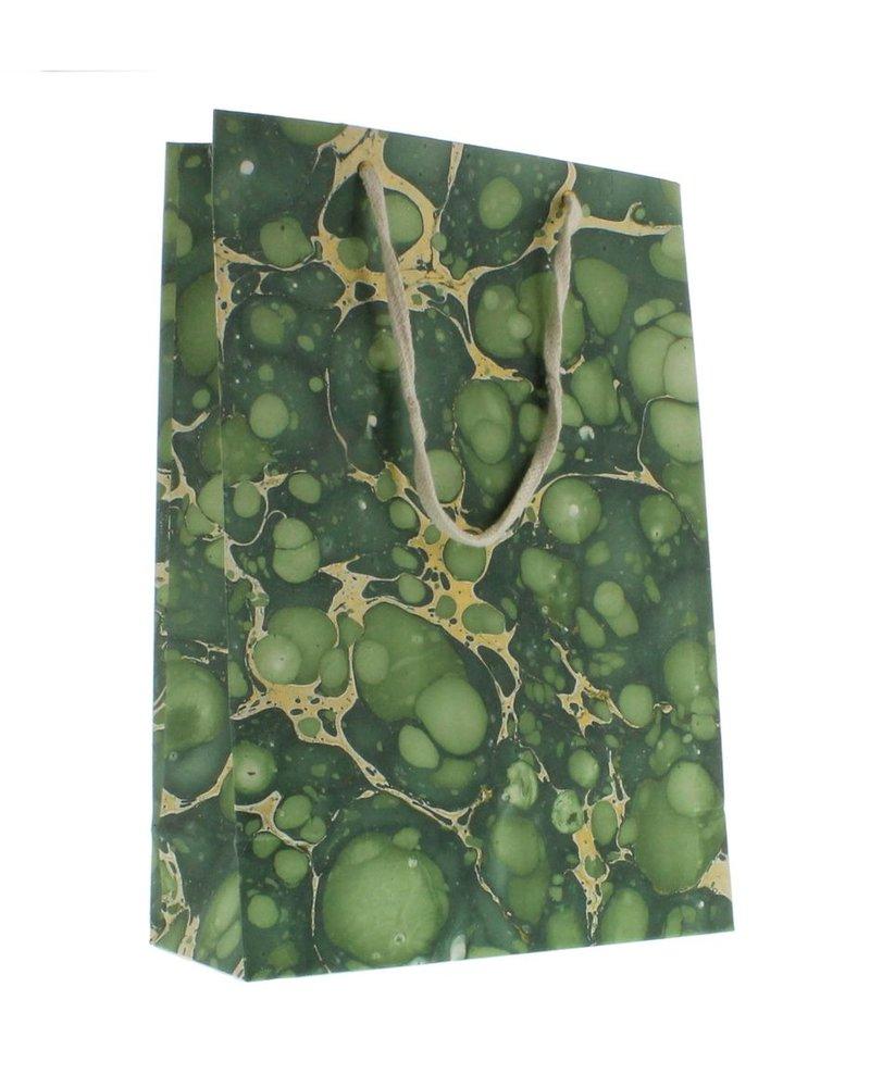 HomArt Marbleized Paper Gift Bag - Lrg - Green