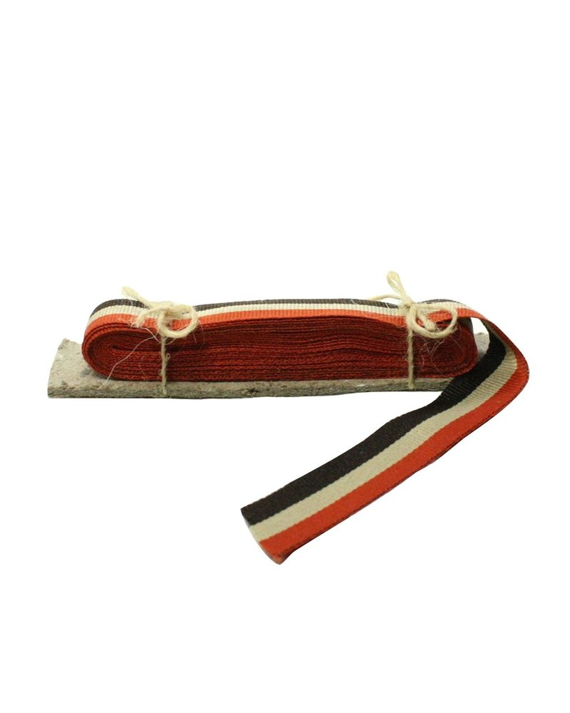 HomArt Signal Grosgrain Striped Ribbon - 5 Yd - Orange-Tan-Brown