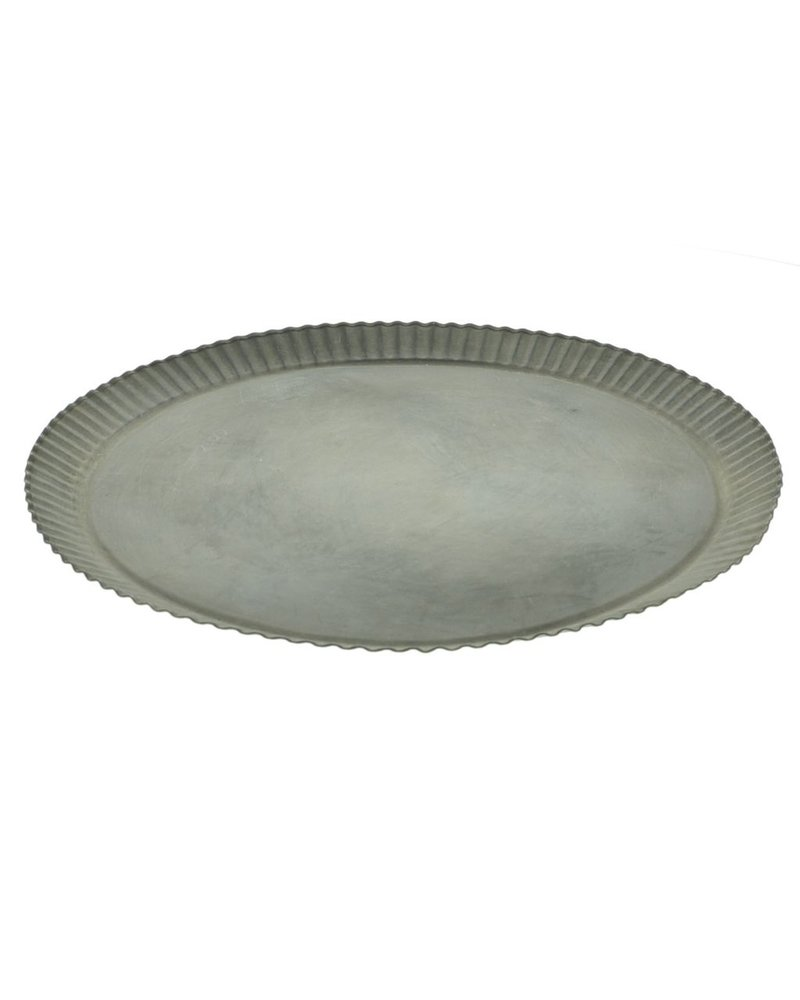 HomArt Ross Flared Round Metal Tray - Sm - Galvanized
