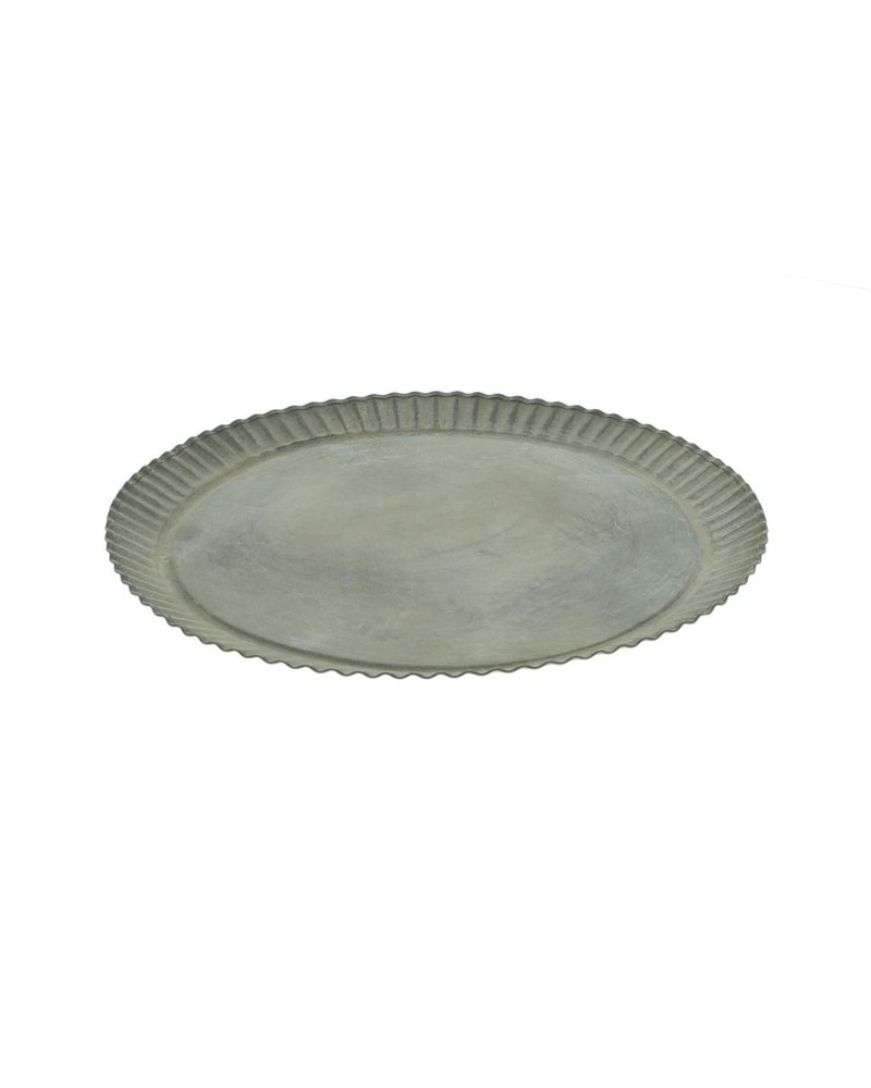 HomArt Ross Flared Round Metal Tray - Tiny - Galvanized