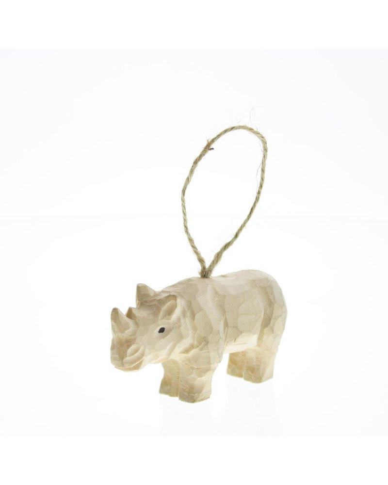 HomArt Carved Wood Ornament - Rhino Set of 3