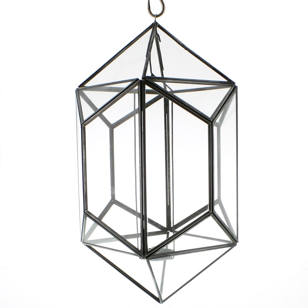 HomArt Pierre Hanging Leaded Glass Luminaria - Polygon - Zinc Antique