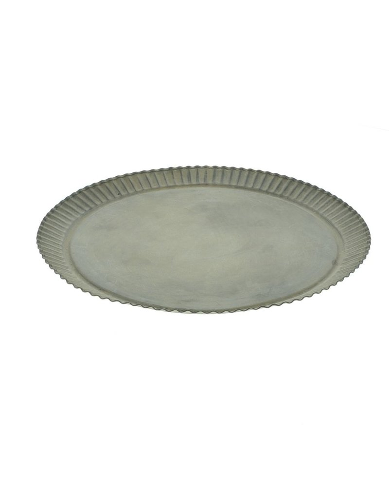HomArt Ross Flared Round Metal Tray - Petite - Galvanized