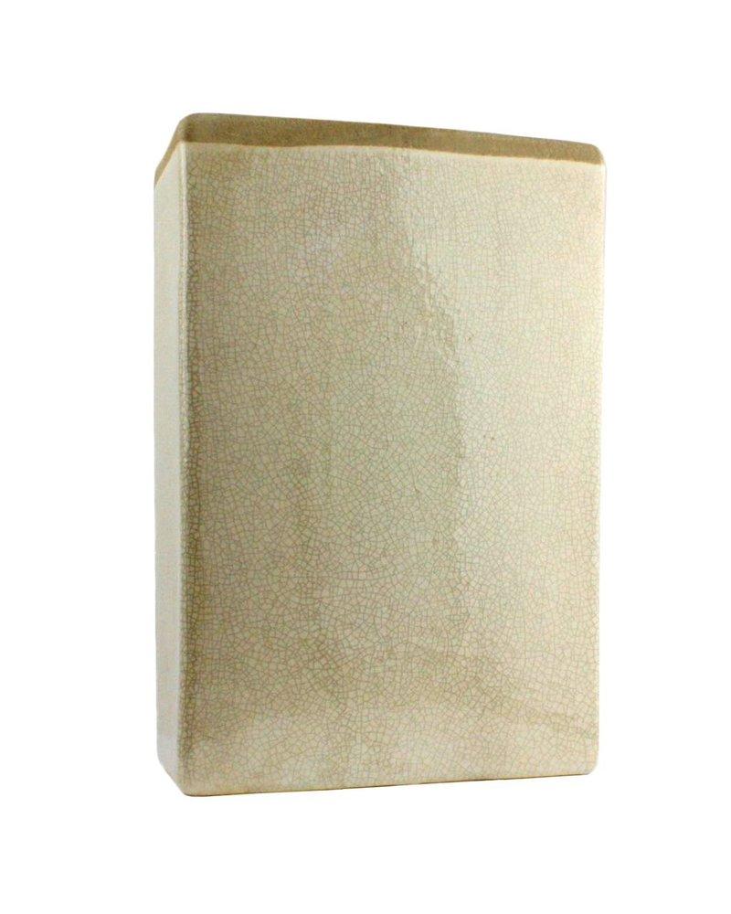 HomArt Mulberry Ceramic Rect Vase - Med - White