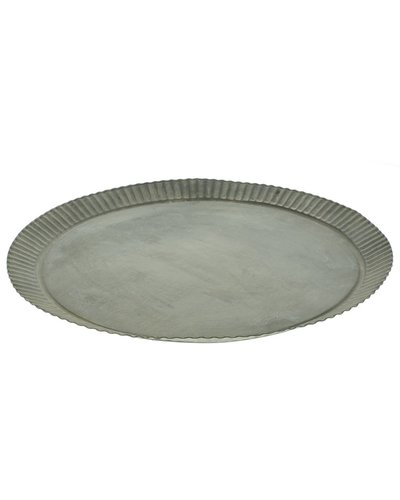 HomArt Ross Flared Round Metal Tray - Med - Galvanized