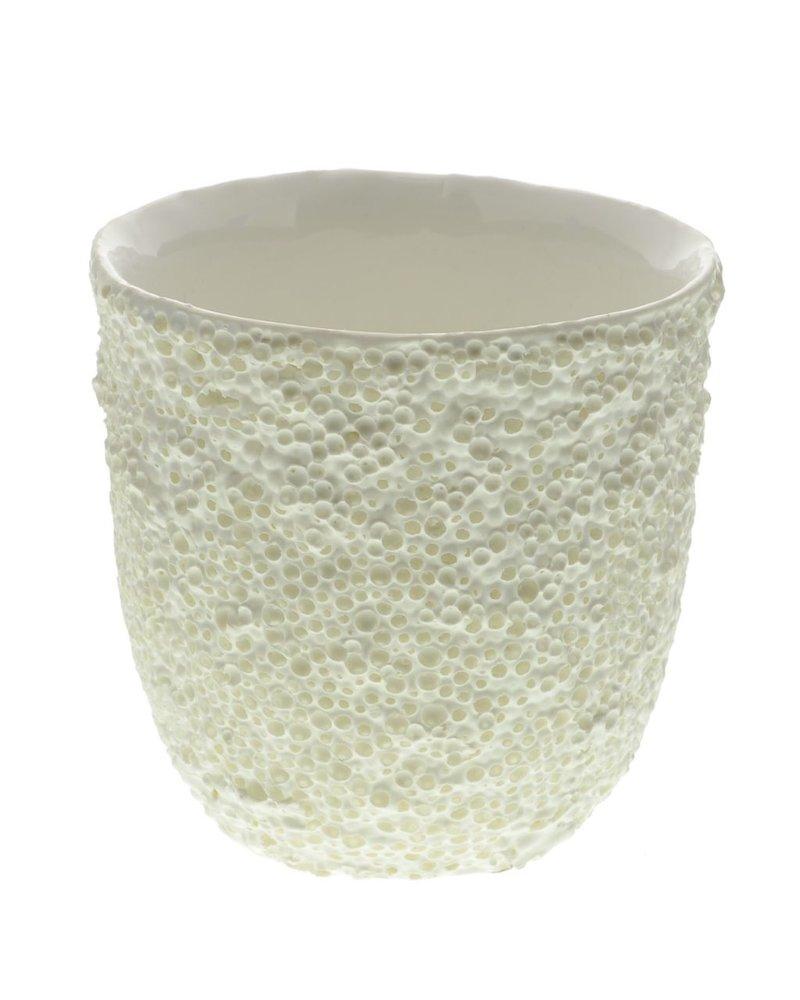 HomArt Coral Ceramic Vase - Lrg - White