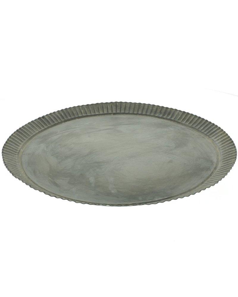HomArt Ross Flared Round Metal Tray - Lrg - Galvanized