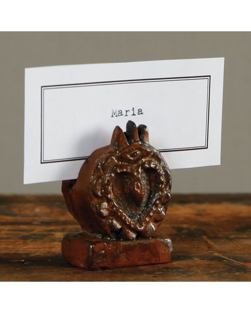 HomArt Sacred Heart Place Card Holder - Cast Iron - Rust