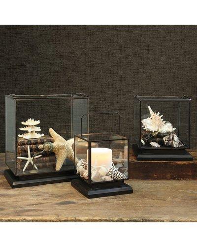 HomArt Preston Tin and Glass Vitrine - Lrg - Burned Antique