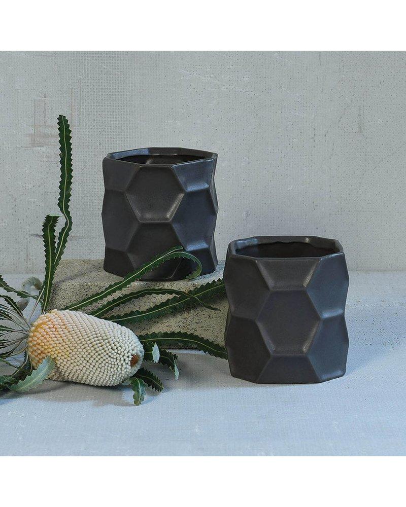 HomArt Kane Ceramic Vase - Sm - Matte Charcoal