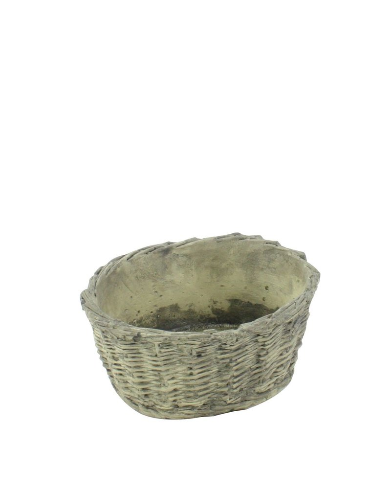HomArt Cement Basket - Twined Weave - Oval - Lrg