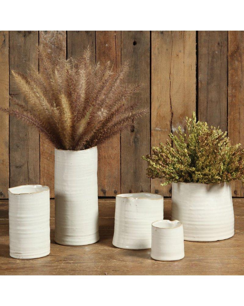 HomArt Bower Ceramic Vase - Lrg Wide - Fancy White