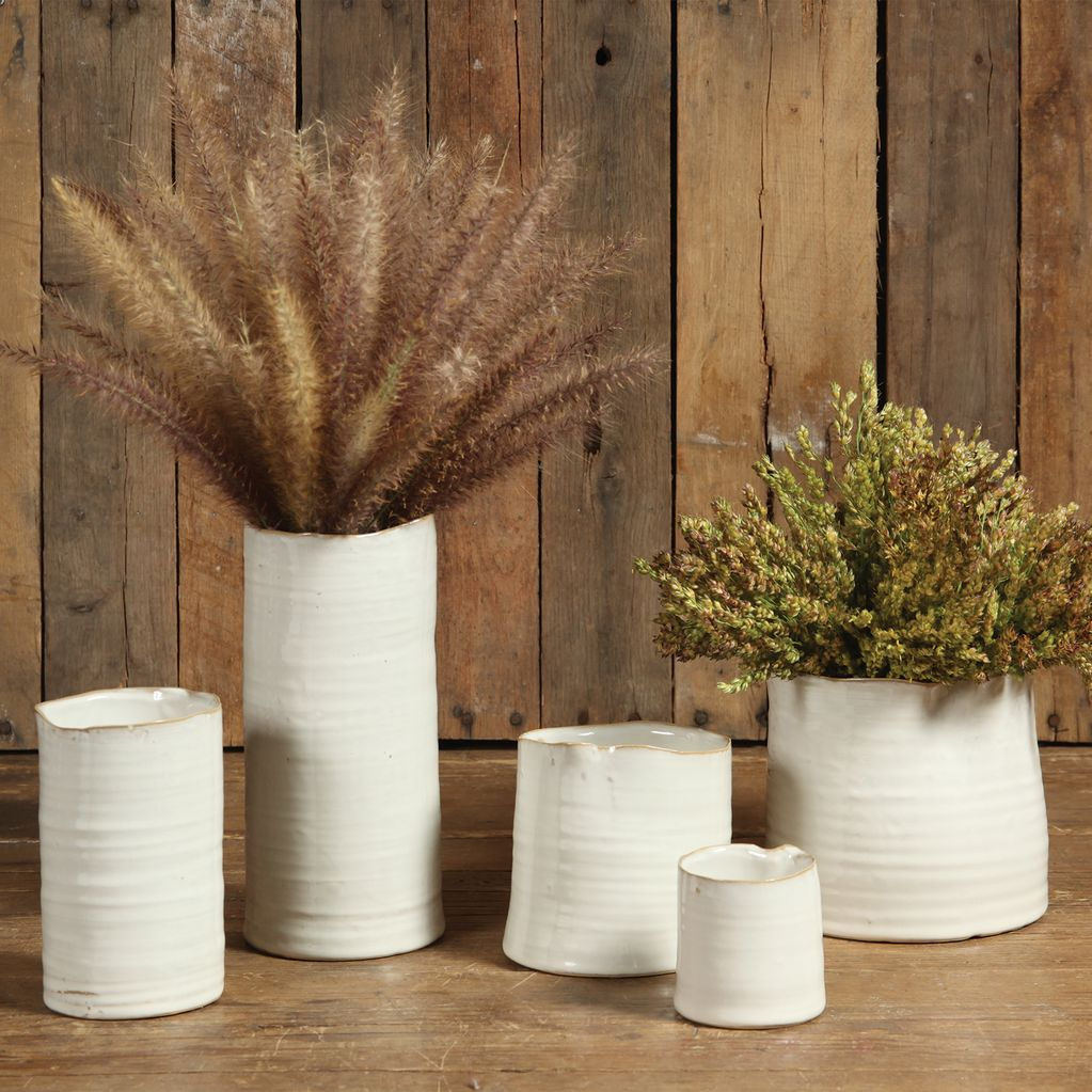 HomArt Bower Ceramic Vase - Lrg Wide - Fancy White