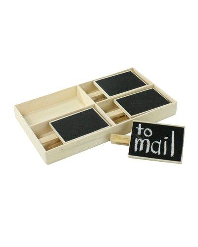 HomArt Chalkboard on Clip - Box of 4 - Natural Wood