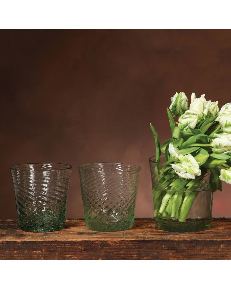 HomArt Strata Glass Vase - Lrg - Antique Green