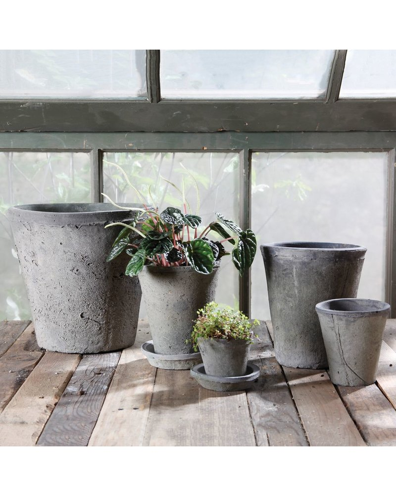 HomArt Rustic Terra Cotta Rose Pot - Petite - Moss Grey