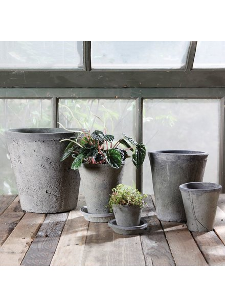 HomArt Rustic Terra Cotta Rose Pot - Sm - Moss Grey
