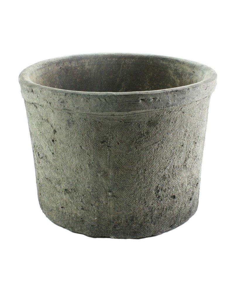 HomArt Rustic Terra Cotta Cylinder - Sm - Moss Grey