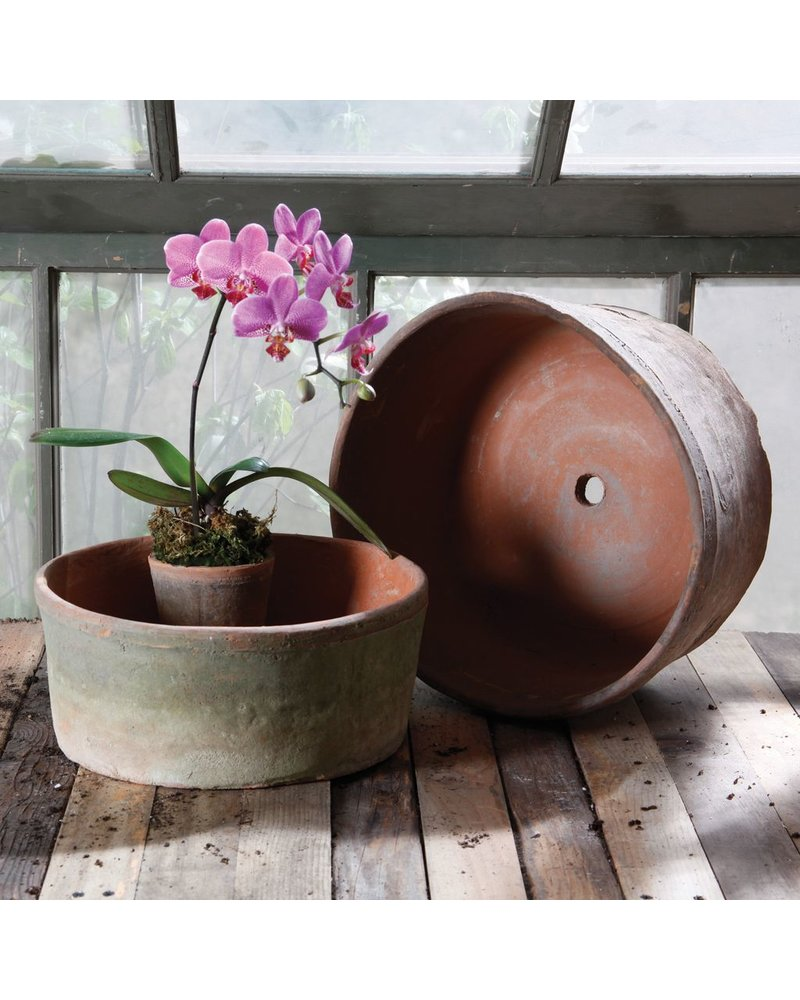 HomArt Rustic Terra Cotta Grande Cylinders - Set of 2 - Antique Red