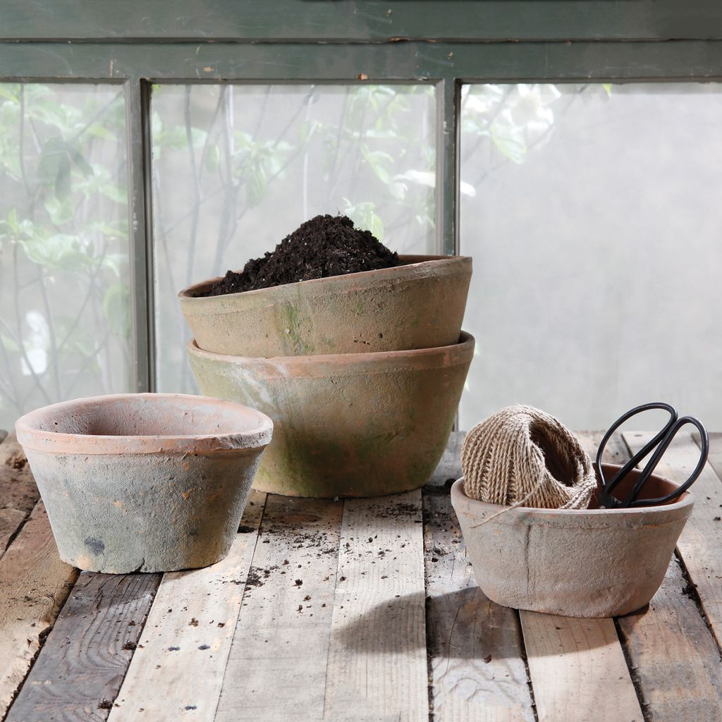 HomArt Rustic Terra Cotta Oval Pot - Sm - Antique Red