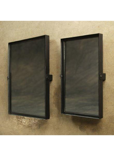 HomArt Pivot Iron Mirror, Rect - Lrg - Black Waxed