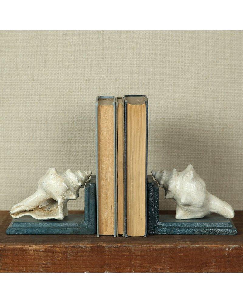HomArt Seashell Bookends - Cast Iron - White Blue