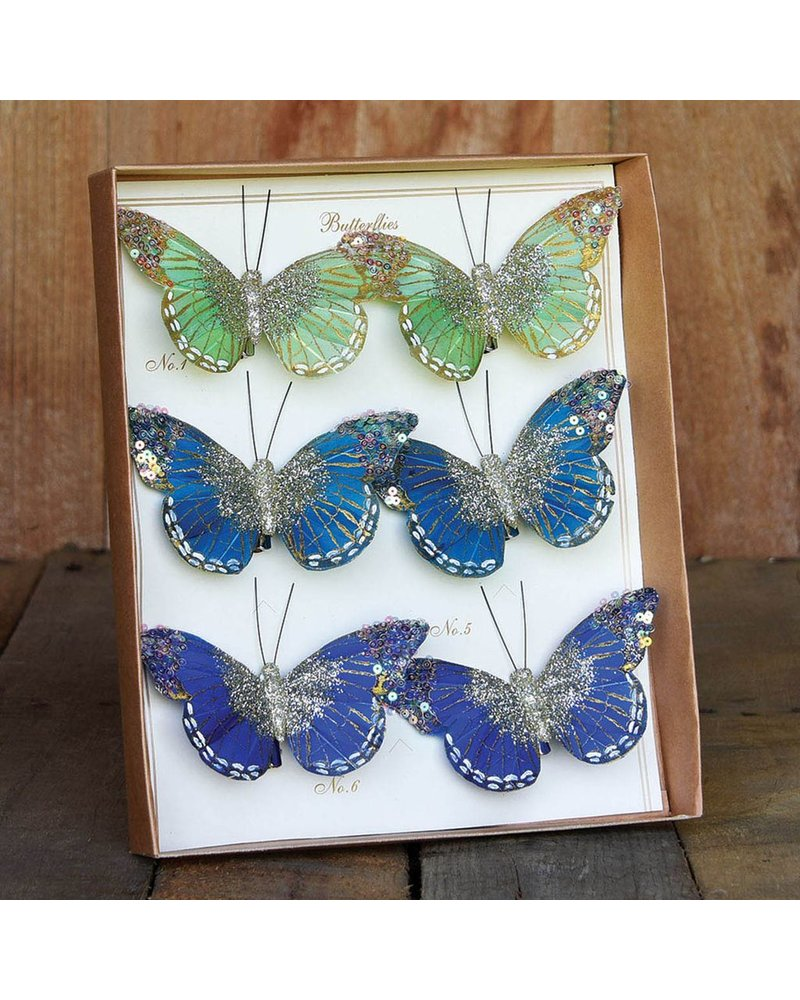 HomArt Mandarin Glitter Butterflies on Clip - Box of 6 Assorted - Green, Teal, Cobalt