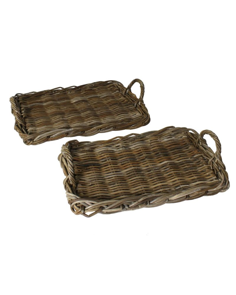 HomArt Fairfield Rattan Serving Trays - Set of 2 - Rustique Dark Grey