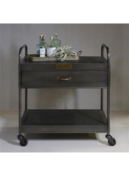HomArt Leroy Iron and Wood Bar Trolley with Drawer  Manzana Black