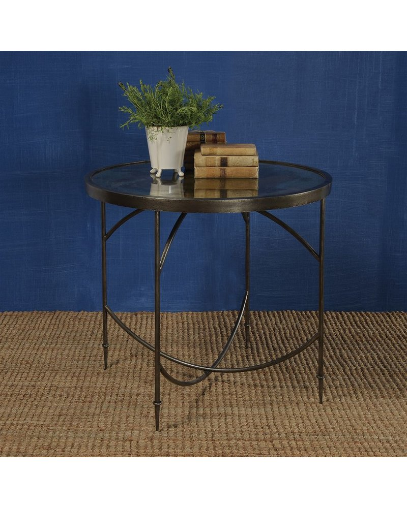 HomArt Carrefour Mirrored Table  Antique Nickel & Antique Mirror