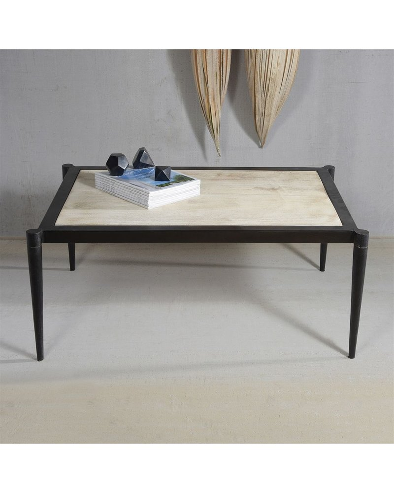 HomArt Rhys Iron & Wood Coffee Table  Black Metal & Antique White Wood