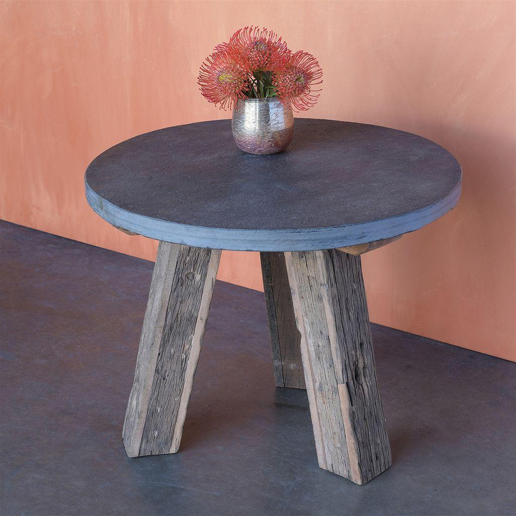 HomArt Milo Reclaimed Wood Table With Black Slate Top